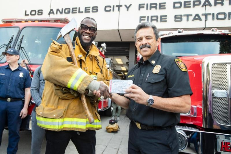 Wilder & L.A. Fire Department Chief Ralph Terrazas Credit Esther Lin Showtime