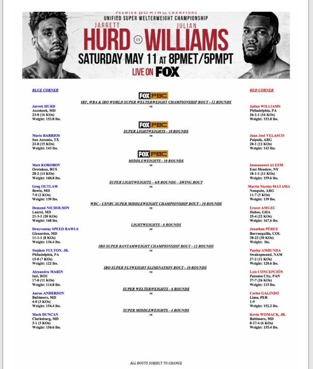 Hurd Williams Bout Sheet