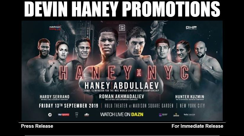 DEVIN HANEY VS. ZAUR ABDULLAEV SEPTEMBER 13 AT THE HULU THEATER IN NYC