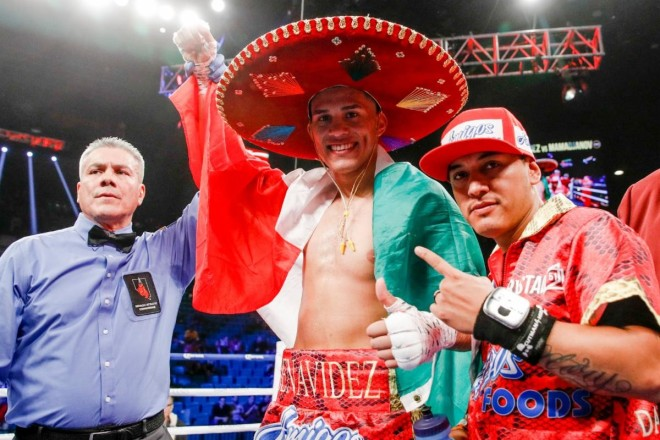 Benavidez draped in the Mexican Flag Credit Esther Lin SHOWTIME